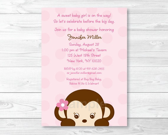 Cute Monkey Baby Shower Invitation / Monkey Baby Shower Invite / Monkey Baby Shower / Pink / Baby Girl Shower / PRINTABLE