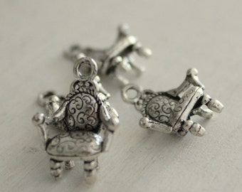 Arm Chair Charms / Thrones / Metal Charms / Vintage Style / 4 pieces