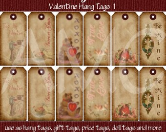 Primitive Vintage Valentine Printable Hang Tags for Scrapbooking Art