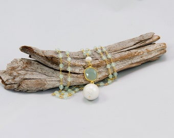 Chalcedony stone necklace with large baroque pearl lariat