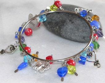 Charm Bracelet, Silver Bangle, Cuff Jewelry, Dangle Bracelet, Womens Gift, Teen Gift