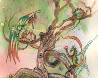 Watercolor Painting Dragon Art, Dragon Painting, Dragon Watercolor, Dragon Art Print Titled Dragon Family and Yoga Tree