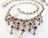 Vintage Signed Laura Vogel Amber and Silver Necklace
