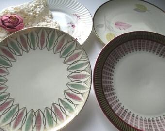 Vintage Mismatched China Maroon Gold Salad Plates Set of Four - Bavarian
