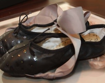 Ballet Slippers, Ballet Flats,  Black Leather Hand Painted Sparkly, Glitzy Polka Dots, size 1.5B Children's Ballet Slippers