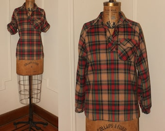 1960s Woodland Plaid & Flannel Blouse - Sears Jr Bazaar - autumn hues, roll up sleeves - vintage size small