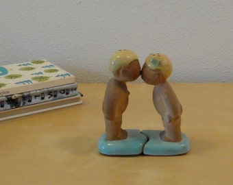 Vintage Sorcha Boru Kissing Boy and Girl Salt and Pepper Shakers - California Pottery