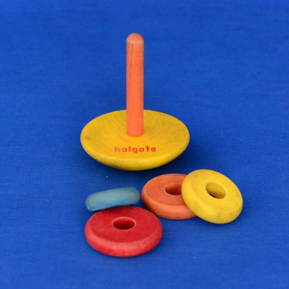 Stacking Rings Toy : Vintage holgate wooden stacking rainbow rings toy