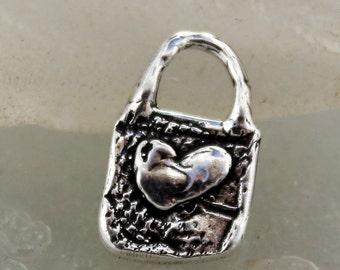 Heart Rectangular Charm Sterling CH902