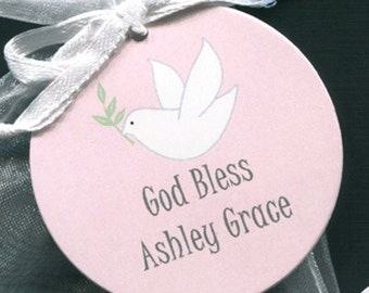 Personalized Baptism Christening Communion Favor Tags, dove pink background, 2 inch, set of 25