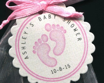 Personalized Baby Girl Baby Shower Favor Tags featuring pink baby feet, set of 30