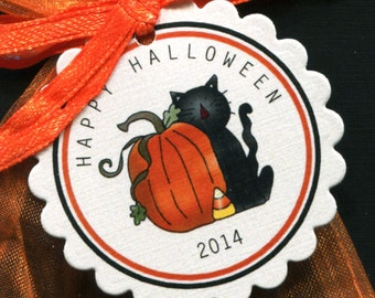 Halloween Favor Tags featuring a pumpkin and a black cat, set of 25