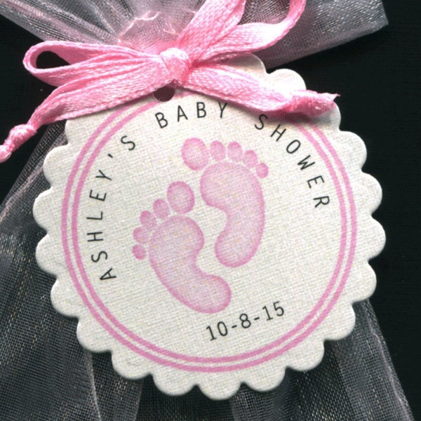 personalized baby girl baby shower favor tags featuring pink