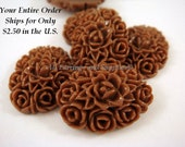 SALE - 6 Brown Resin Cabochon Flowers Opaque 18x13mm - No Holes - 6 pc - CA2001-BR6