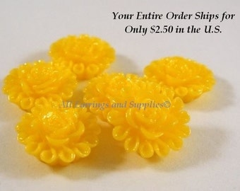 6 Yellow Flower Cabochon Resin 13mm - No Holes - 6 pc - CA2012-Y6