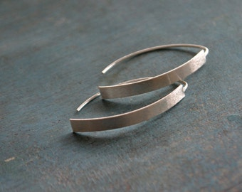 Bow -  long sterling silver earrings
