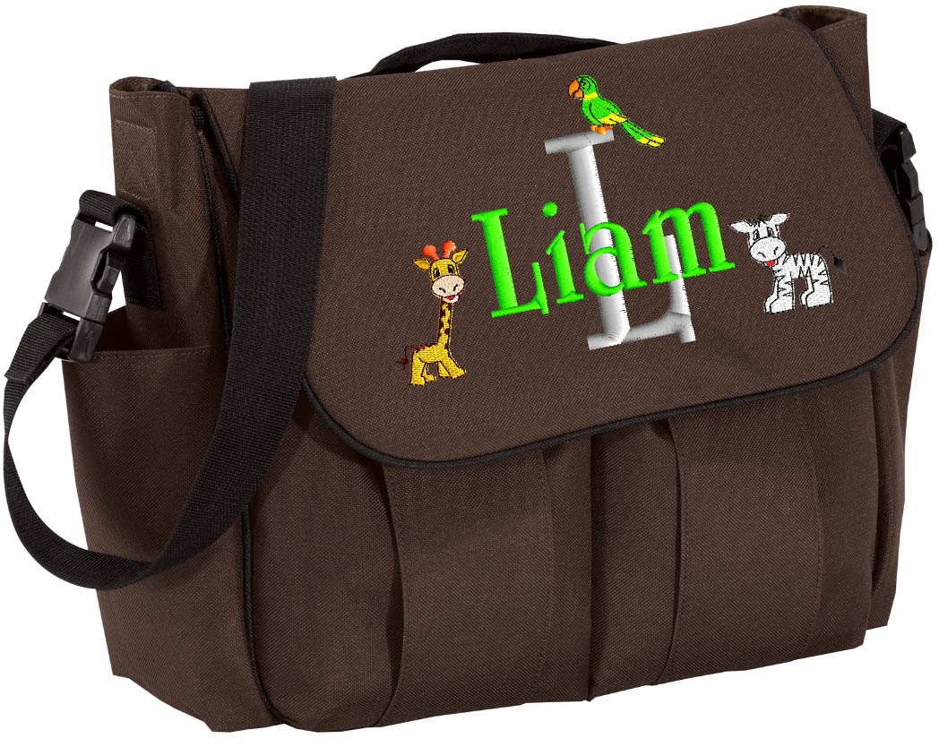 boys diaper bag personalized black brown messenger embroidered