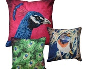 Set of 3 Cushion covers - Peacock XL, Feathers and Bluethroat 16x16inch // 40x40cm