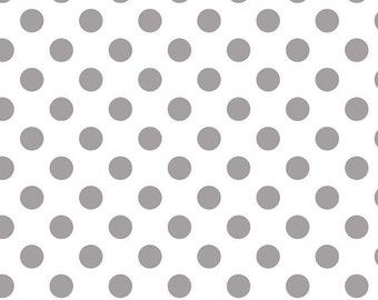 Riley Blake Medium Dot Grey Fabric, 1 yard