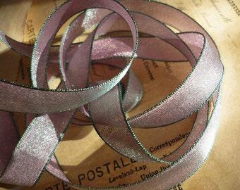 "10 Yards of Iridescen Lavender and Leaf Green Satin Ribbon (1/2"")"