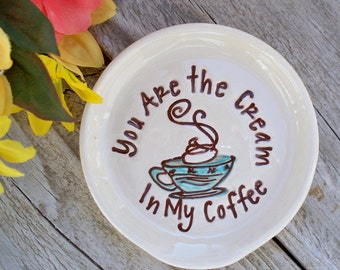 Spoon Rest - You Are The Cream In My Coffee - Kitchen Decor - Ceramic Spoon Rest - Tea Bag Holder
