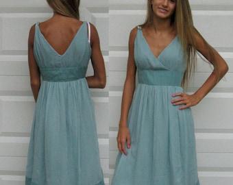 Turquoise silk Dress . Aqua Silk Dress  . Silk Crepe Dress