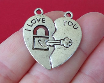 """8 (4 pairs) """"I LOVE YOU"""" Charms"""