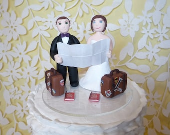 Custom Wedding Cake Topper - travel sample topper