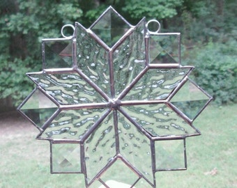 Stained Glass Suncatcher, Quilt Pattern - 8 Point Star in Clear with Clear Bevels