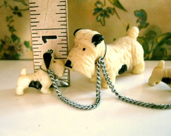 Celluloid Dog Family Mama Babies Chained Figure Tiny Miniature