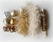 Golden Frost Gift Wrap Kit - Gold Bronze Fibers - Jingle Bells - Embellishing, Card Making, Decorating - Holidays Christmas