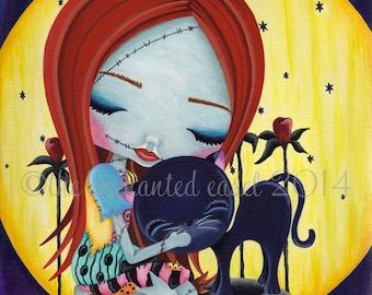 Art Print, Halloween, Girls Room, Tim Burton, Sally, Nightmare Before Christmas, Moon, Girls Wall Art, Black Cat