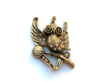Antiqued Bronze 60mm x 40mm OWL Pendant with Crystals and Cabochon, 1021-15