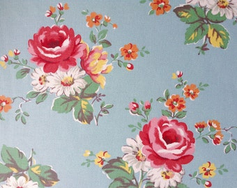 3851 - Cath Kidston Kentish Rose (Light Blue) Cotton Canvas Fabric - 57 Inch (Width) x 1/2 Yard (Length)