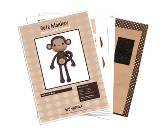 cute monkey sewing kit - sew an stuffed monkey