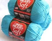 Red Heart Soft yarn, TURQUOISE,  medium worsted weight