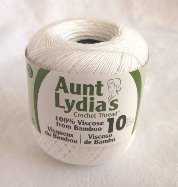 Aunt Lydias Bamboo Thread, WHITE, size 10 crochet thread, fine bamboo yarn
