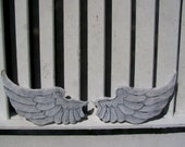 Baby Angel Wings Distressed Grey, White with Pearl Sheen Sweet Cherub Wings Wall Hanging Large