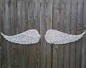 Wooden Carved Angel Wings in Brooke White with Grey and Silver Pearl Glaze