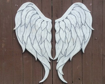 Carved Wood Angel Wings, Newest Style in Gabriel 33L x 34W White Grey and Silver Sheen