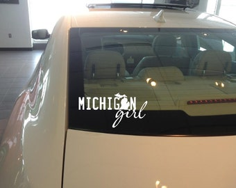 Michigan V78-  Vinyl Car Window Decal Michigan Girl
