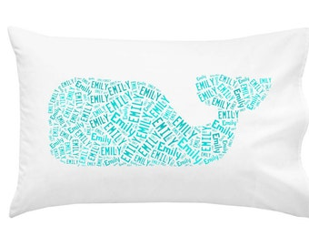 Personalized Pillowcase Whale Pillow Monogram Southern Preppy