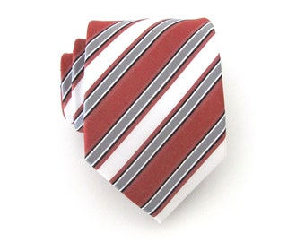 Mens Necktie Rust Red Gray White Stripes Mens Tie