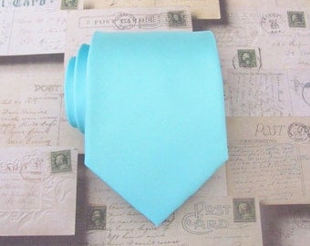 Necktie Pool Blue Robin Blue Eggs Blue Mens Tie With Matching Pocket Square Option Inspired by Alfred Angelo's Blue Box