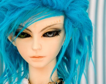 Akasarushi Cerulean Blue Color Fur Wig Made for abjd doll size SD MSD tiny yosd and puki