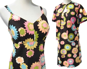 Vintage 60s Dress Mod Babydoll Mini Floral Sundress & Jacket Set M / L