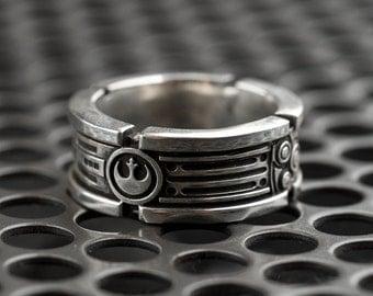 Lightsaber Wedding Ring Band Sterling Silver Custom Ring
