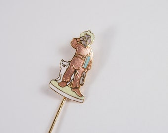 McClelland Tuck Me In Enamel Stick Pin Lapel Brooch Vintage 70s 80s Jewelry