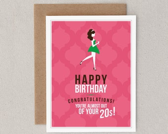 "Funny Birthday Card. For Woman, Girl, Female, Friend. Pink. 20s. Slut. Sarcastic. Birthday Greeting Card. ""20Something Slut"" (CBD-E028)"