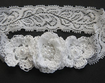 Newborn Baby Girl Flower Lace Headband Hair Bow Crochet with Pearls Christening Baby Headband Baptismal Infant  Headband Reborn Hair Bow